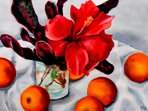 #103 - Hibiscus with Florida oranges