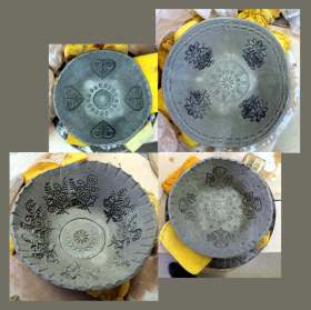 #274 - SLAB POTTERY NOTCH-CUT BOWLS (8)
